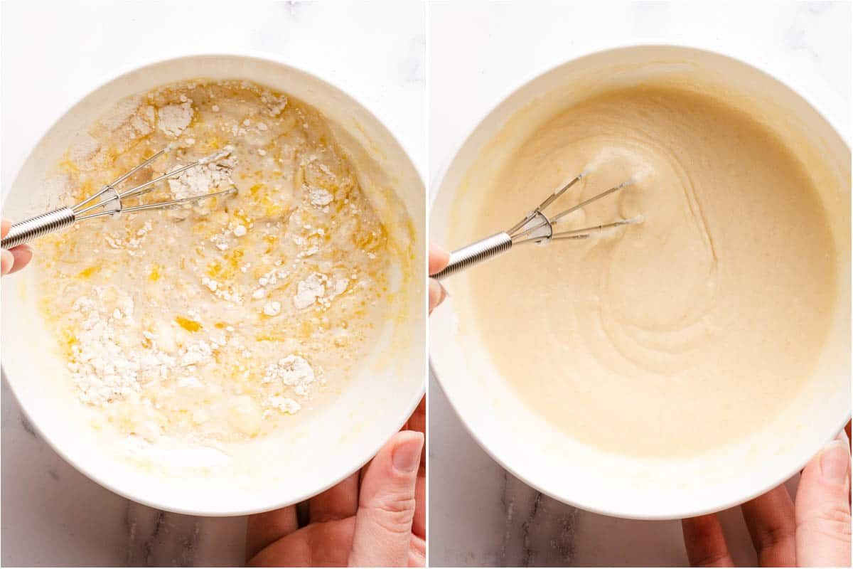 collage showing wet and dry ingredients being whisked together