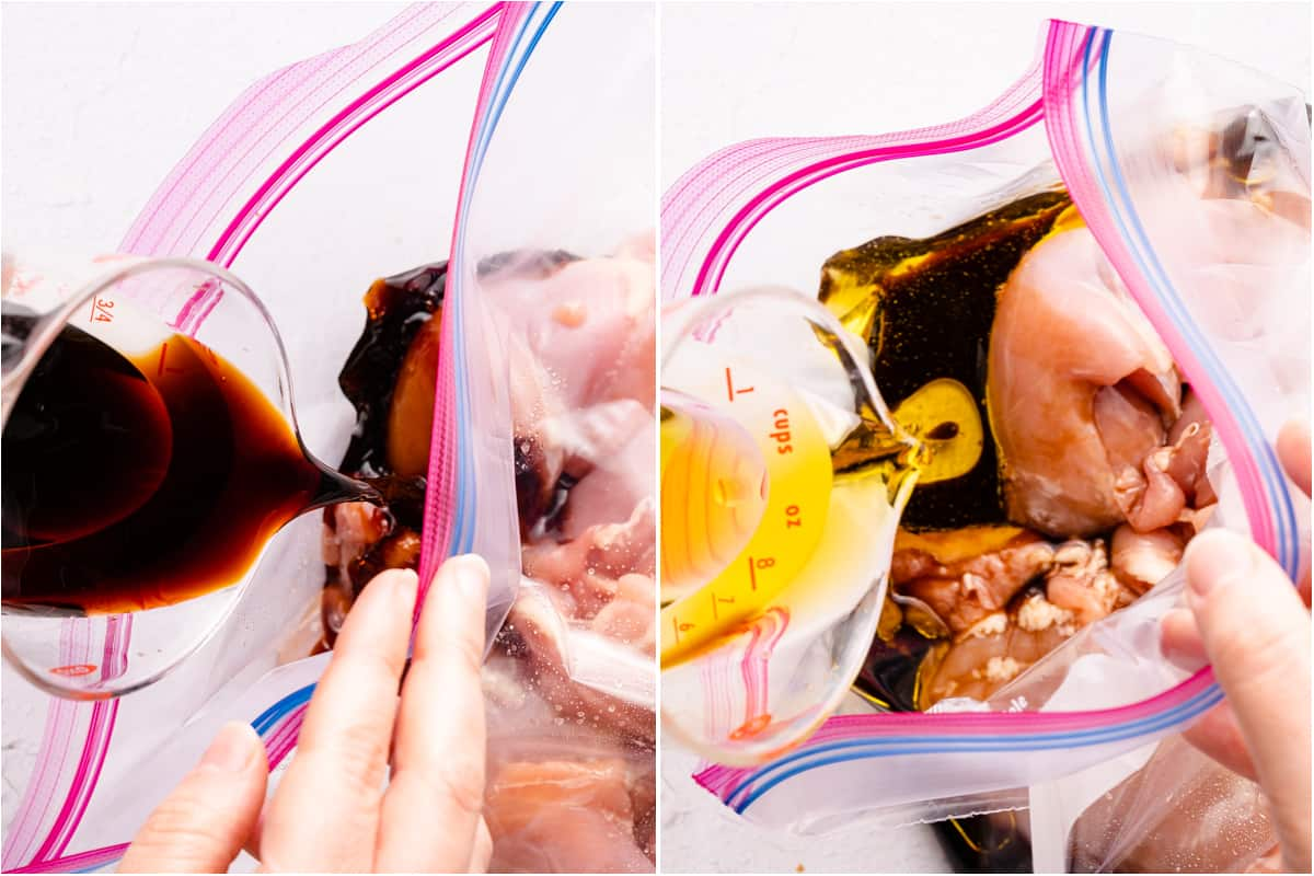 collage of marinade ingredients being poured into bag with chicken