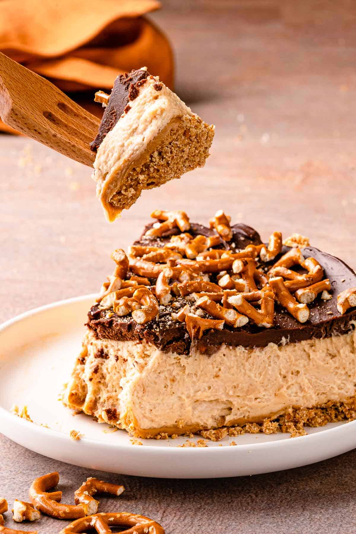 slice of peanut butter pie with fork above