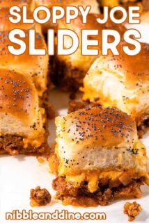 sloppy joe sliders on white paper with text at the top