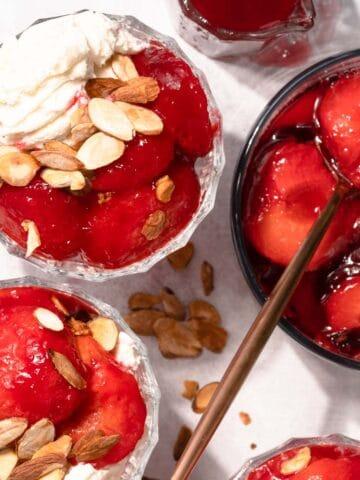 Stewed plums on ice cream FI