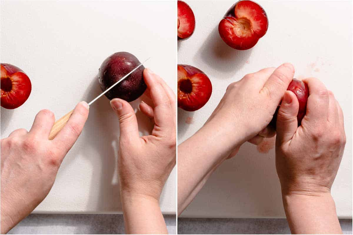 collage of cutting plum in half and twisting it apart