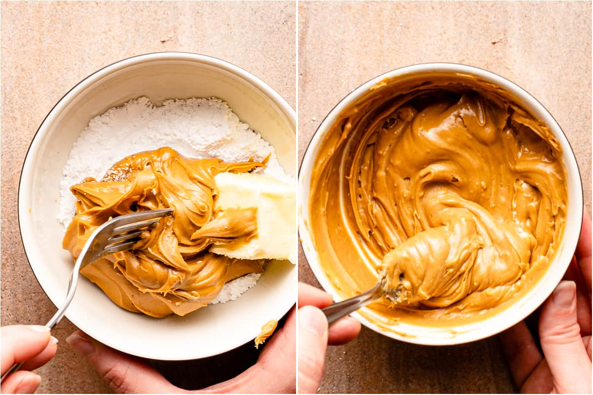 collage of peanut butter, powdered sugar and butter being mixed together