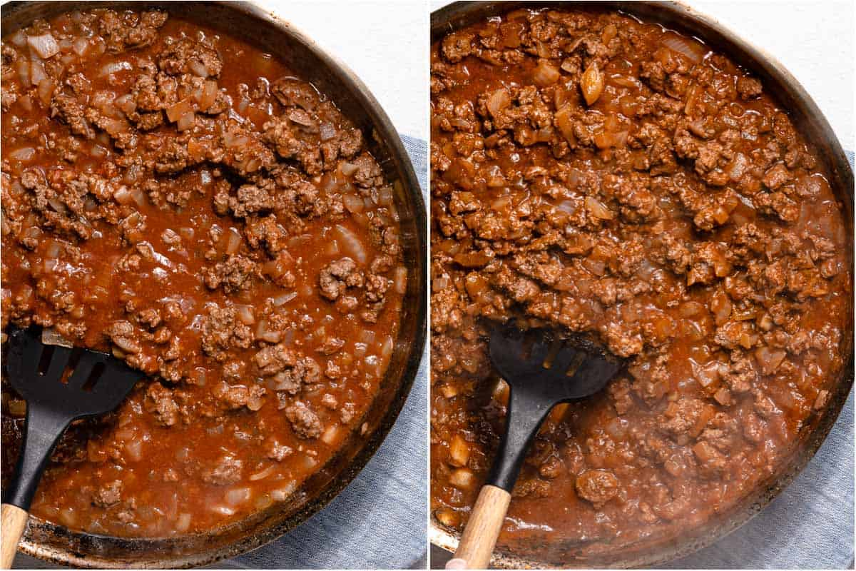 collage of sloppy joe filling before and after reducing