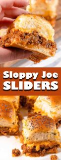 collage of sloppy joe sliders with text in the center