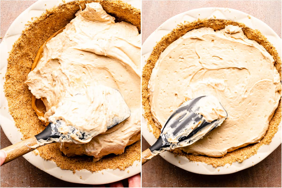 collage of spreading peanut butter filling into pie crust