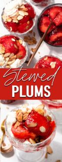 collage of stewed plums on ice cream with text in the center