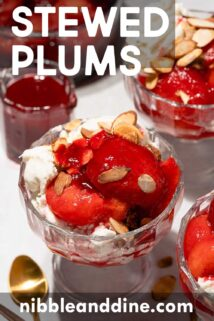 stewed plums on ice cream with text at the top