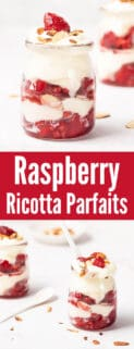 collage of raspberry ricotta parfaits with text in the center