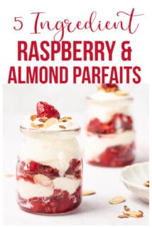 raspberry almond ricotta parfaits with text at the top