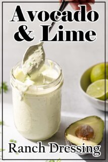 jar of ranch dressing with spoon dipping in with text overlay