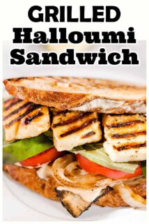 side view of halloumi sandwich with text at the top
