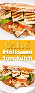 collage of halloumi sandwiches with text in the center