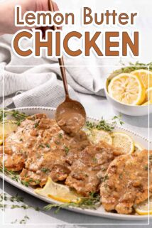spoon adding sauce on top of lemon butter chicken with text at the top