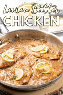 chicken breasts in pan with sauce and lemon slices with text at the top