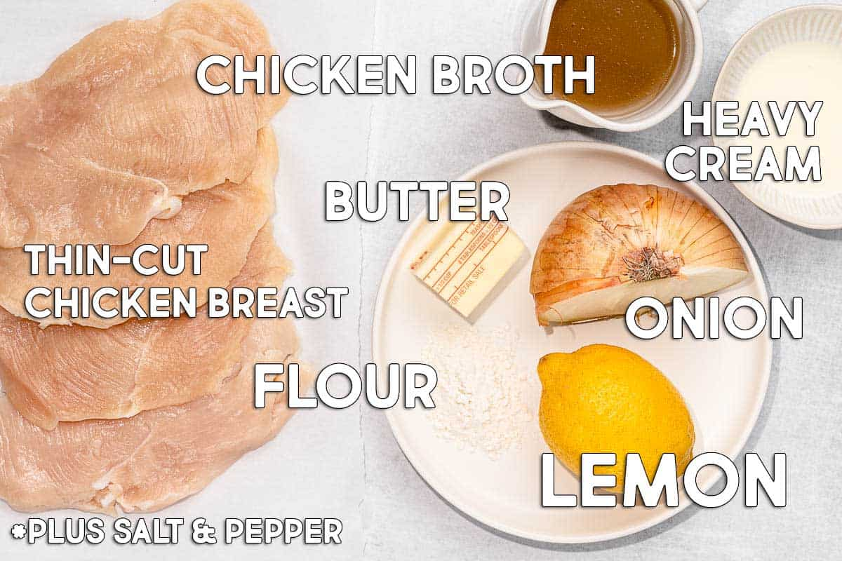 lemon butter chicken recipe ingredients with text overlay