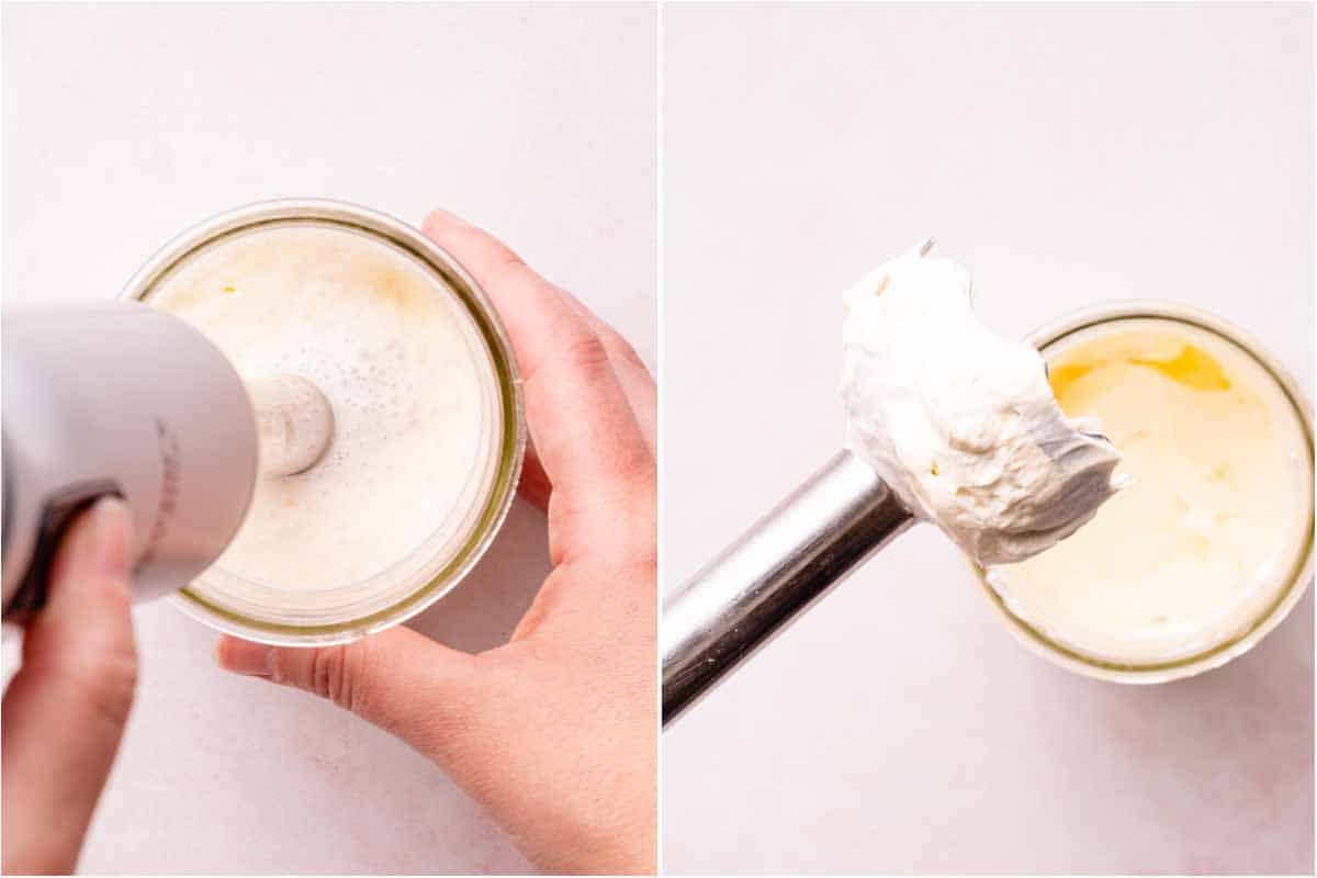 collage of stick blender in jar of whipped cream and whipped cream on end of stick blender