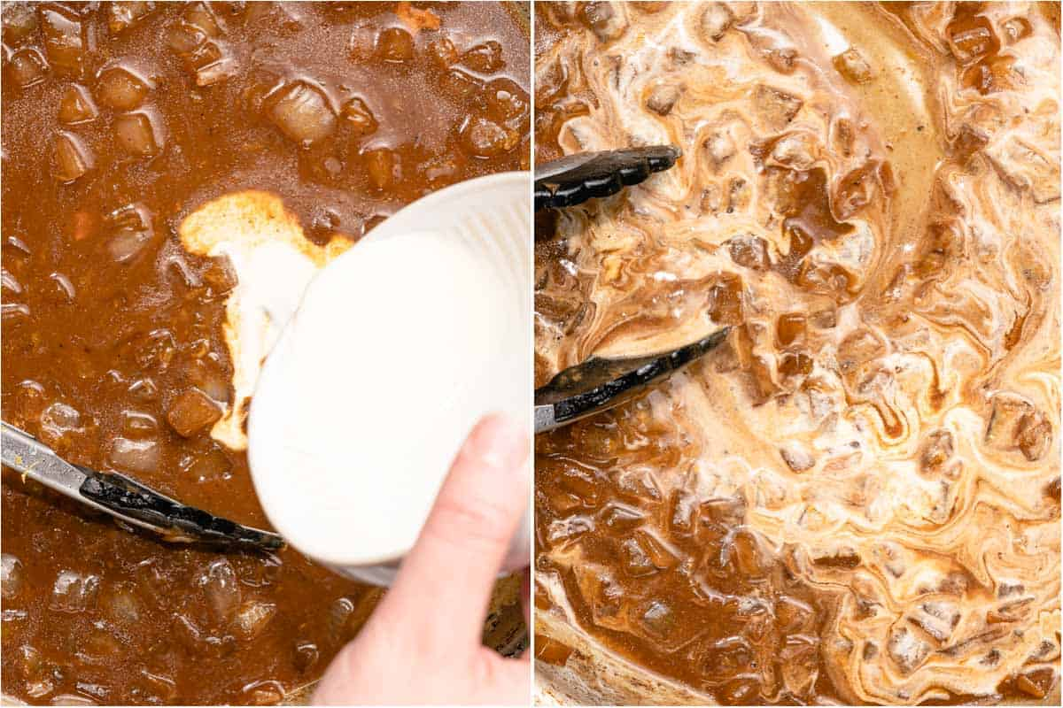 collage of cream being added and mixed into sauce