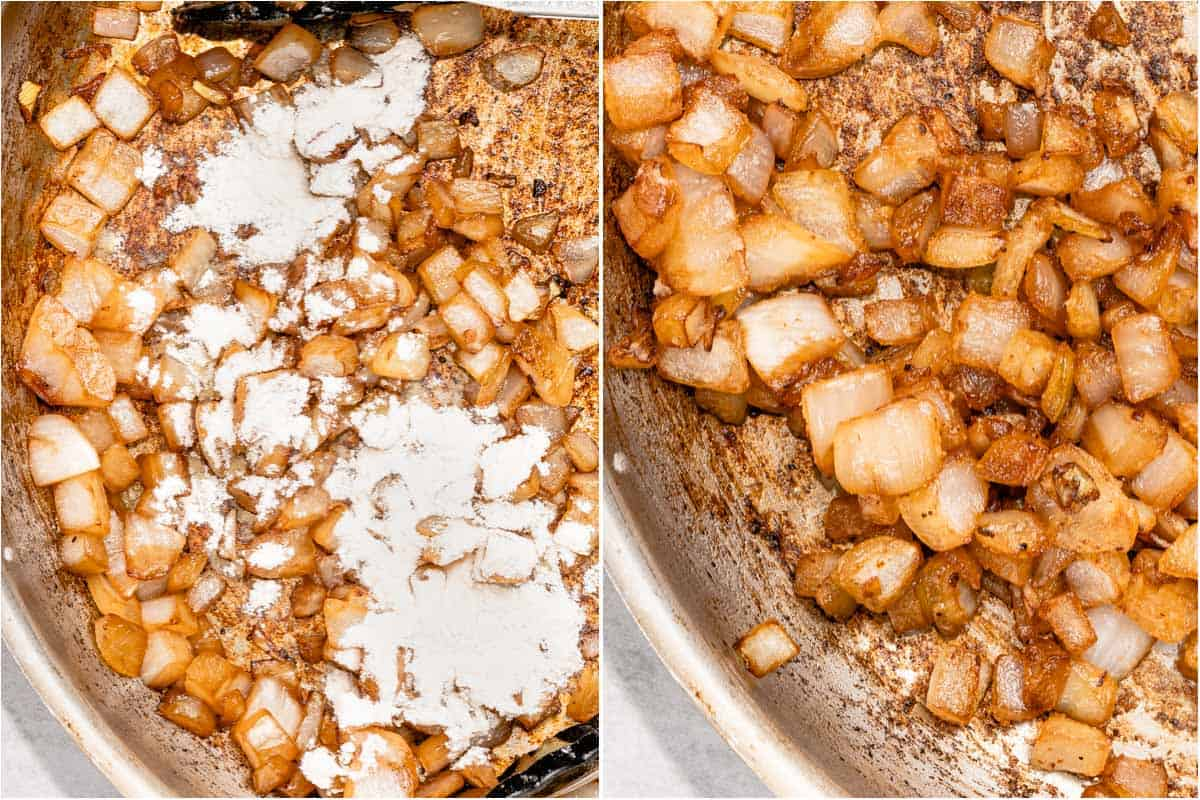 collage of flour sprinkled on onions and mixed into onions in pan