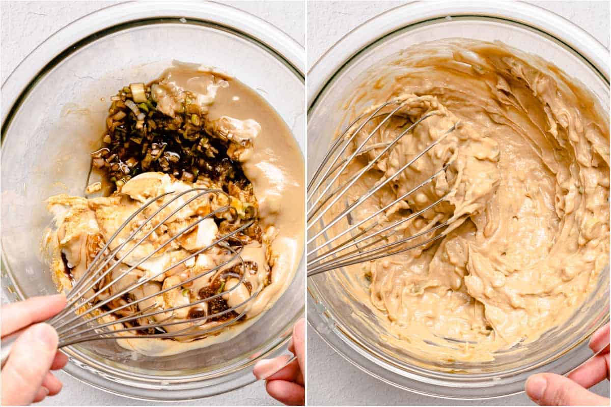 collage of tahini sauce being whisked together