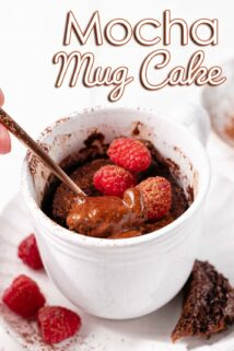 mocha mug cake with berries and text at the top