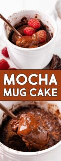 collage of mocha mug cake with spoon with text in the center