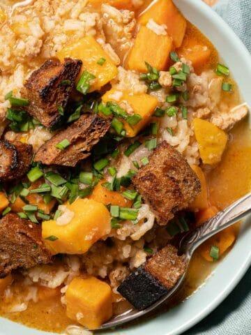 Bowl of turkey sweet potato soup
