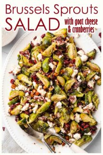 cranberry brussels sprouts salad on platter with text at the top