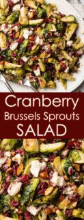collage of brussels sprouts salad on platter and close up view of salad with text box in the center