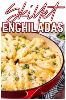 enchiladas in pan with text at the top