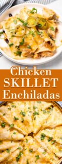 collage of enchiladas on plate and in a pan with text in the center