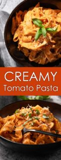collage of pasta in black bowls with text in the center
