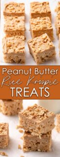 collage of peanut butter rice krispie treats on parchment and in a stack with text in the center