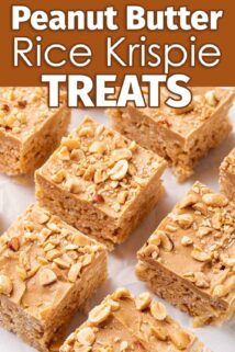 peanut butter rice krispie treats squares on parchment paper with text at the top
