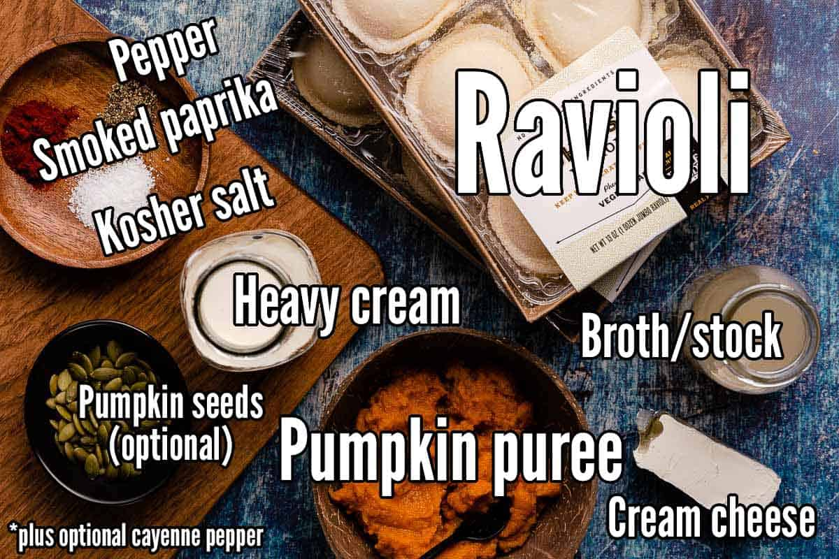 recipe ingredients for creamy pumpkin ravioli with text overlay