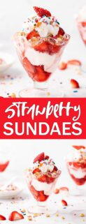 collage of strawberry sundaes in glasses with text in the center