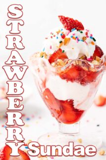 strawberry sundae in glass with text on the side