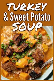 bowl of turkey sweet potato soup with text at the top