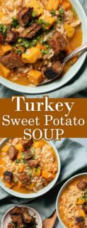 collage of bowl of turkey sweet potato soup in bowls and text in the center
