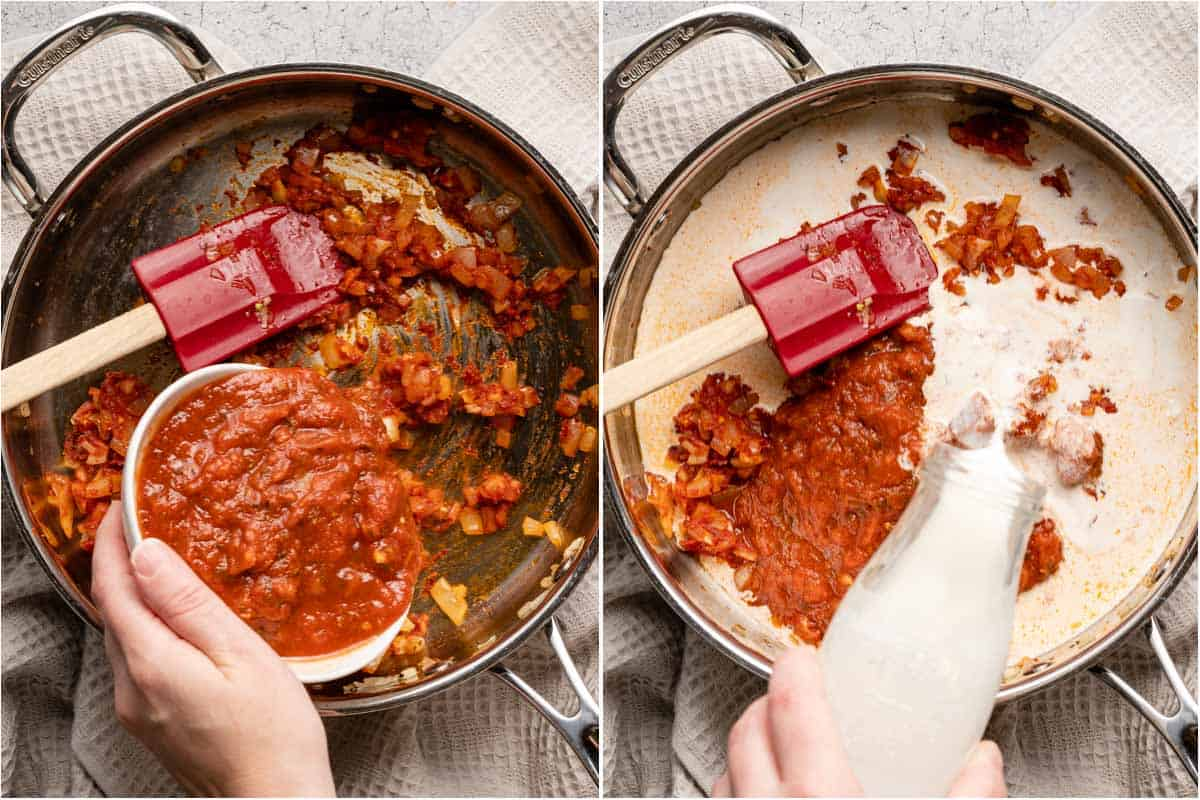 collage showing tomato sauce being added into pan and cream being poured into pan