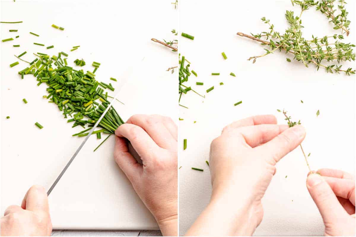 collage of chives being chopped and thyme being stripped from stem