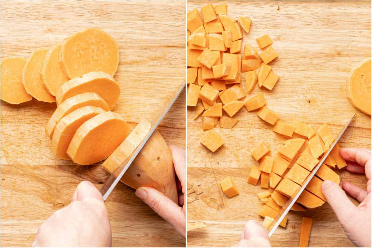 cutting sweet potato into slices and then cubes