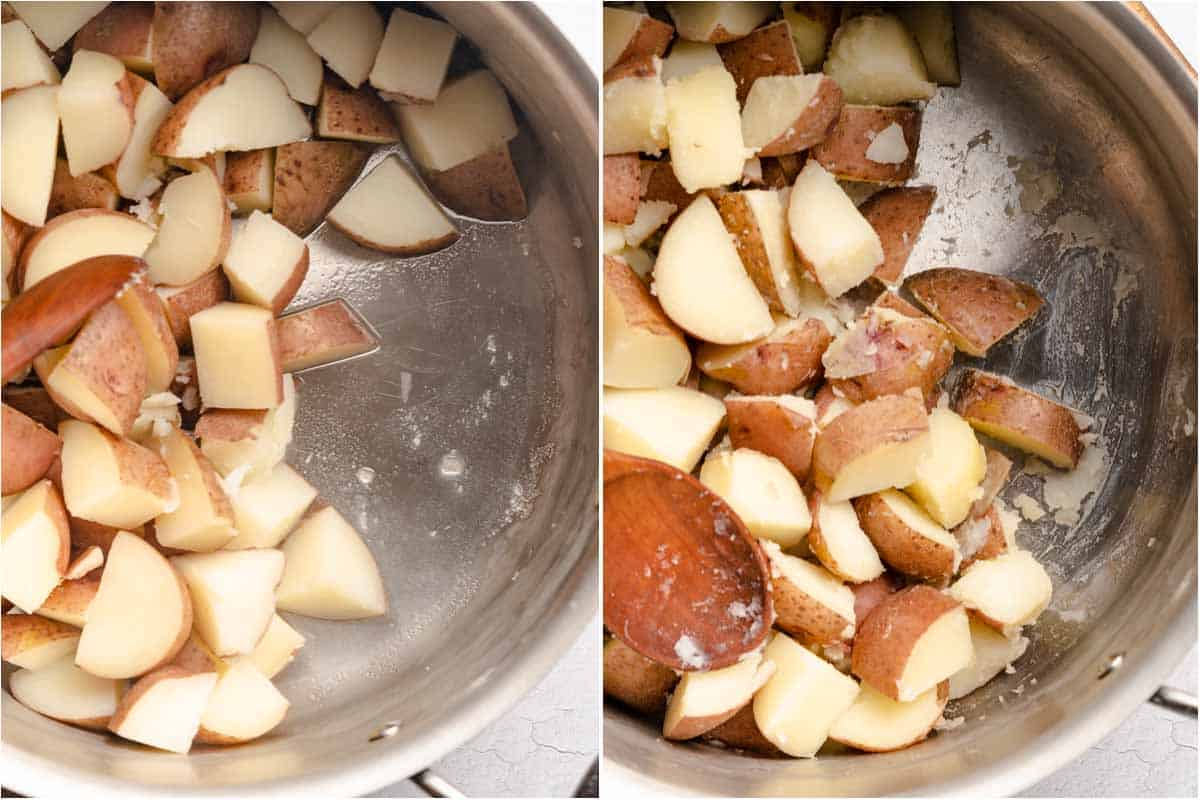 collage of cooked potatoes before and after cooking excess liquid out