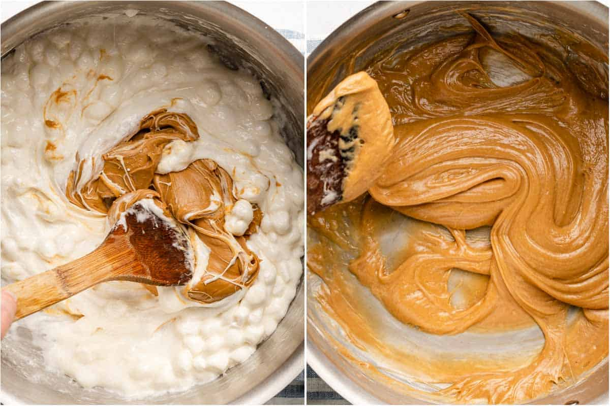 collage of peanut butter and melting marshmallows being combined and peanut butter and marshmallows fully melted and combined