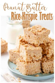 peanut butter rice krispie treats stacked on a green plate with text at the top