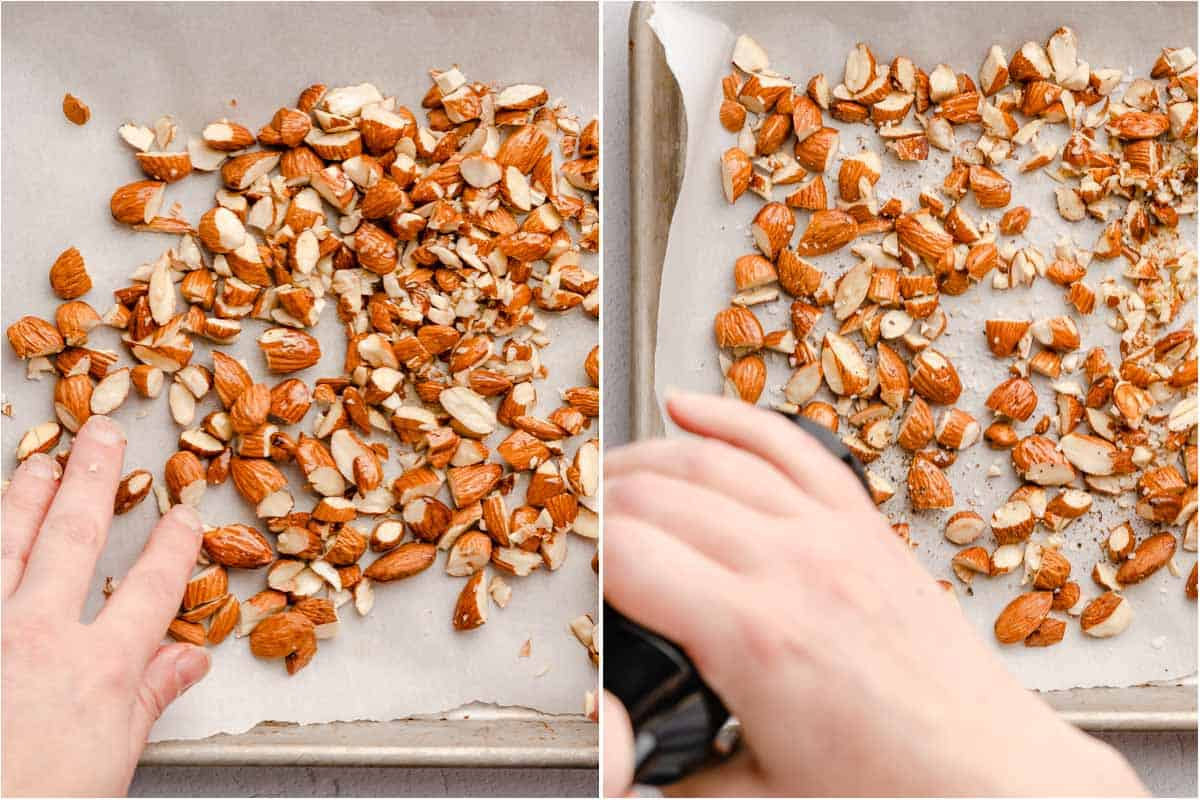 collage of hand spreading chopped almonds on baking sheet and grinding pepper over almonds