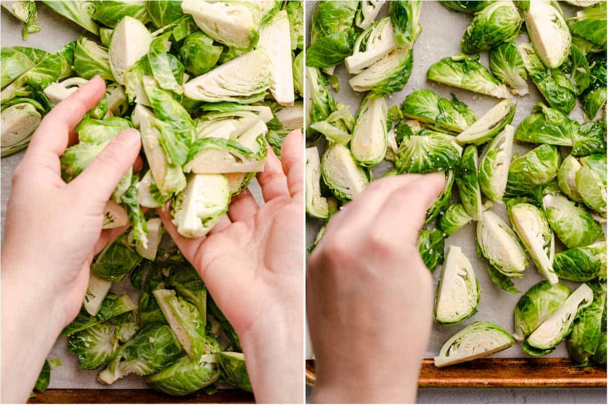 collage of hands tossing brussels sprouts with oil and hand sprinkling salt overtop brussels sprouts