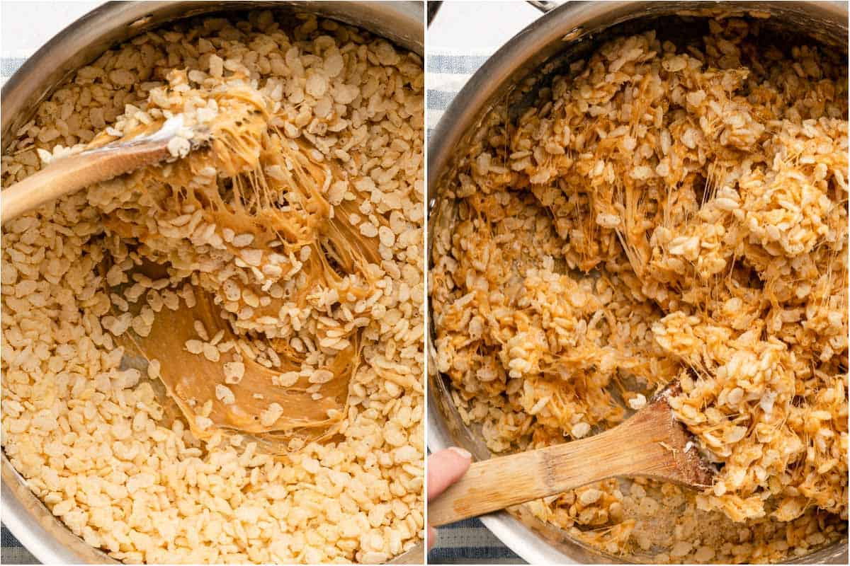 collage of rice krispies cereal being stirred into marshmallows and completed rice krispie treat mix in large pot