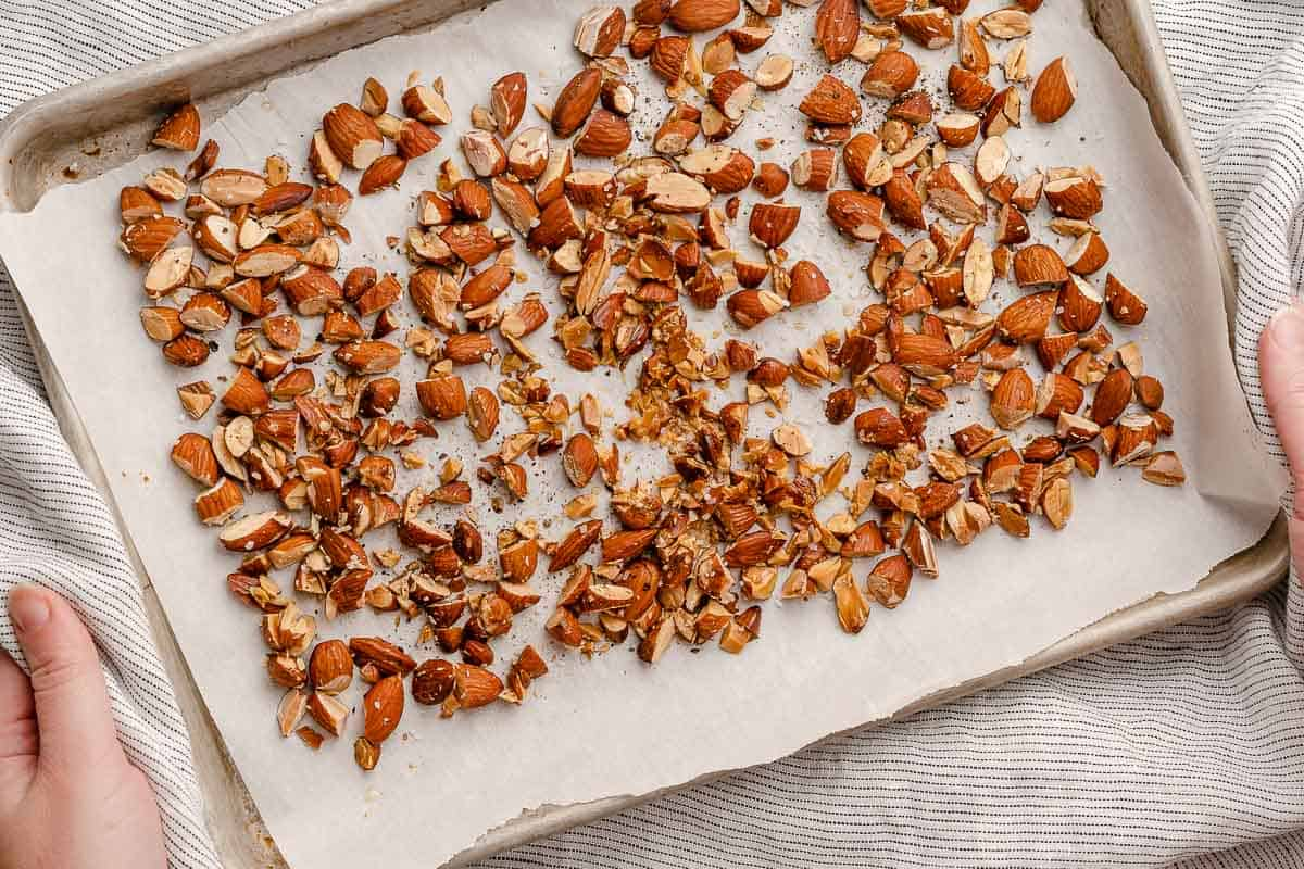 toasted almonds on baking sheet