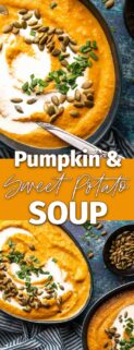 collage with bowls of pumpkin and sweet potato soup in blue bowls with text box in the center